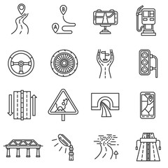 Road icons set. Highway, thin line design. The road to wheeled vehicle, linear symbols collection. Driving on the road, isolated vector illustration