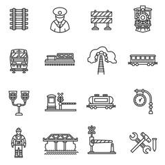 Train icons set. Railway, thin line design. Railways, linear symbols collection. Cargo train, isolated vector illustration. The vehicle train