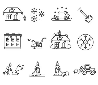 Snow removal icons set. Snowy rainfall, thin line design. Removal of snow and ice, linear symbols collection. Equipment and tools for snow removal, isolated vector illustration