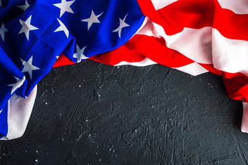 Closeup of American flag on dark background