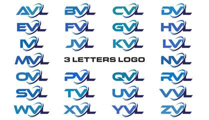 3 letters modern generic swoosh logo AVL, BVL, CVL, DVL, EVL, FVL, GVL, HVL, IVL, JVL, KVL, LVL, MVL, NVL, OVL, PVL, QVL, RVL, SVL,TVL, UVL, VVL, WVL, XVL, YVL, ZVL