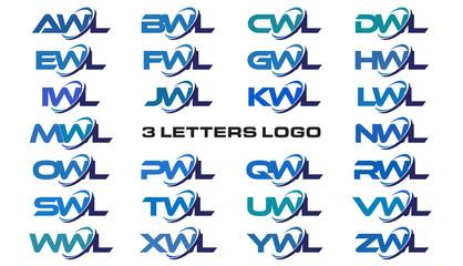 3 letters modern generic swoosh logo AWL, BWL, CWL, DWL, EWL, FWL, GWL, HWL, IWL, JWL, KWL, LWL, MWL, NWL, OWL, PWL, QWL, RWL, SWL,TWL, UWL, VWL, WWL, XWL, YWL, ZWL