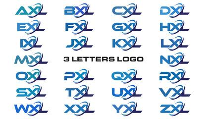 3 letters modern generic swoosh logo AXL, BXL, CXL, DXL, EXL, FXL, GXL, HXL, IXL, JXL, KXL, LXL, MXL, NXL, OXL, PXL, QXL, RXL, SXL,TXL, UXL, VXL, WXL, XXL, YXL, ZXL
