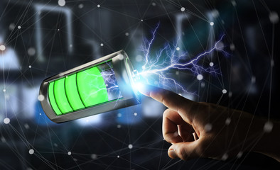 Man touching 3D render battery with lightning with his finger