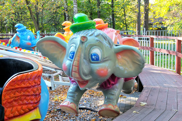 Painted colorful carousel elephants