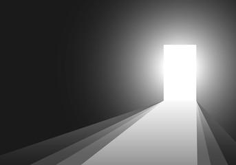 Light in the room through the open door. Vector illustration.