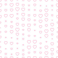 Seamless pattern with pink hearts. Valentine's day decoration.
