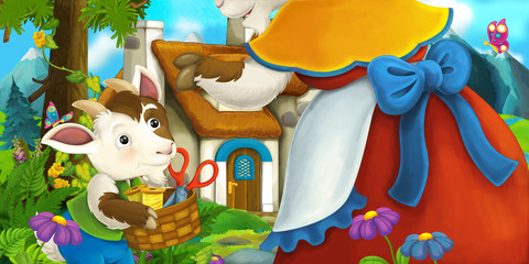 Happy and funny traditional farm scene with goats - mother and son - stage for different usage - illustration for children