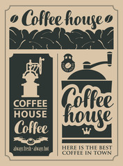 set of design elements on the subject of coffee and hot drinks