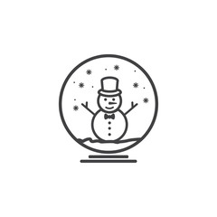 Snowman inside globe icon on the white background. New Year set of icons. Christmas holidays