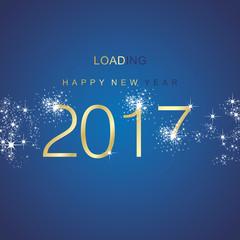 New Year 2017 loading spark firework gold blue vector