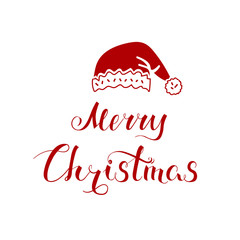 Merry Christmas lettering and red Santa Claus hat, poster with hand-drawn congratulations and simple symbol of Santa Claus, EPS 8