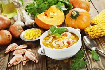 Pumpkin soup-puree with shrimp
