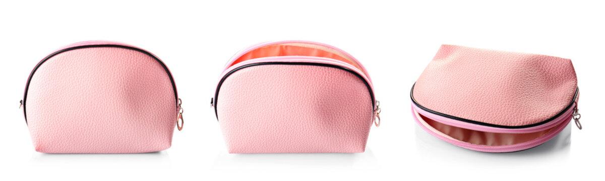 Stylish cosmetic bag on white background