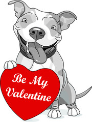 Poster Fairytale World Valentine Pit Bull with heart