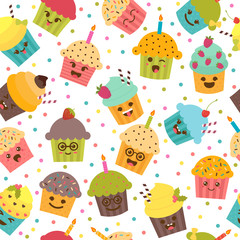 Birthday background. Seamless pattern with cupcakes and muffins.