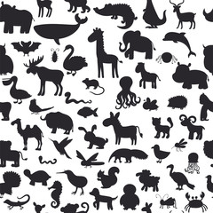 Seamless pattern with black animals silhouettes. Cute background