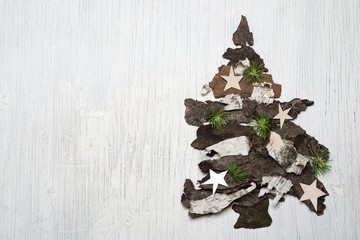 Tree bark handmade christmas decoration