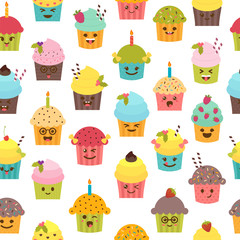 Seamless pattern with cupcakes and muffins. Birthday background.