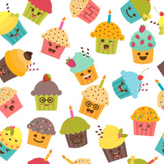 Seamless pattern with cupcakes and muffins. Cute cartoon charact