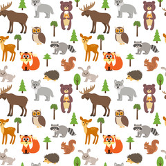 Seamless pattern with cute forest animals and trees on white bac