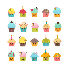 Set of cupcakes and muffins. Cute cartoon characters, emoji. Bir