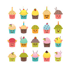 Set of cupcakes and muffins. Kawaii cupcakes set. Cute cartoon c