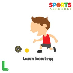Cute Sports alphabet in vector. L letter for Lawn Bowling. Funny cartoon sports. Alphabet design in a colorful style.