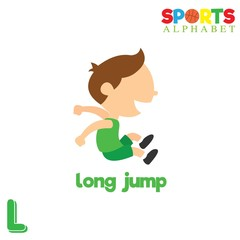 Cute Sports alphabet in vector. L letter for Long Jump. Funny cartoon sports. Alphabet design in a colorful style.