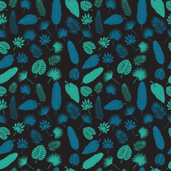 Tropical leaves seamless pattern. Exotic floral tropical palm an