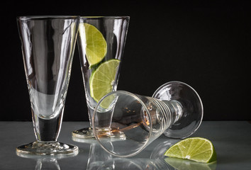 Lime Wedges in Dessert and Beverage Glassware