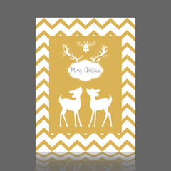 Gold Christmas greeting card with bell and bambi. Vector illustration.
