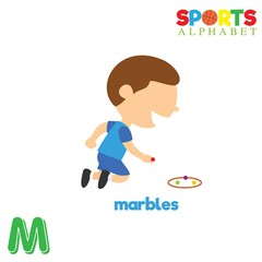 Cute Sports alphabet in vector. M letter for Marbles. Funny cartoon sports. Alphabet design in a colorful style.