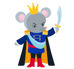 Mouse King from the ballet Nutcracker. Vector illustration isolated on white background.