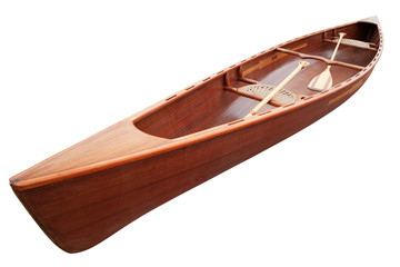 New canoe with paddles isolated on white. Clipping path included.
