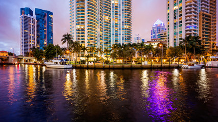 Fort Lauderdale, Florida City Skyline at Night on New River