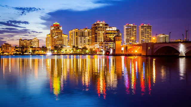 West Palm Beach, Florida Skyline and City Lights at Night