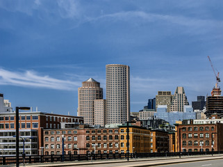 Boston downtown skyline view from waterfront area, a lotof copyspace on a sky