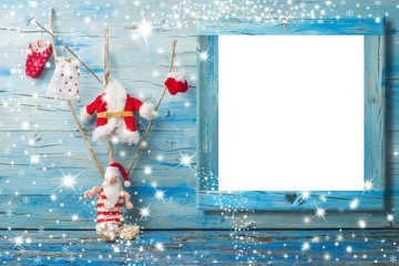 Cutel Christmas photo frame card Santa