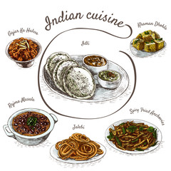 Menu of Indian colorful illustration.
