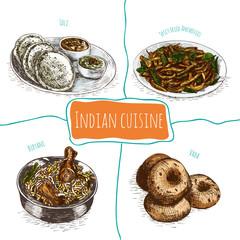 Menu of Indian colorful illustration.