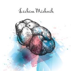Lechem Mishneh watercolor effect illustration.