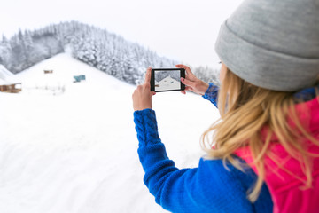 Girl Taking Photo On Smart Phone Snowy Mountain Young Woman Winter Snow Holiday Vacation