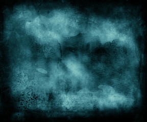 Beautiful blue grunge abstract background with dark frame