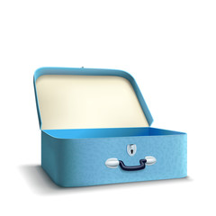 blue suitcase on white