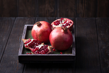 Some red juicy pomegranate