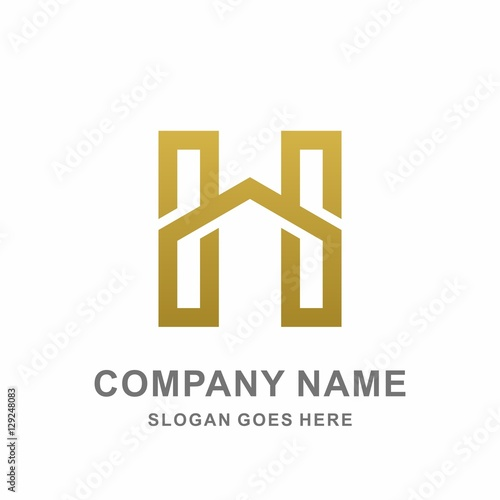 Geometric Monogram Letter H Home Architecture Interior Construction Business Company Stock