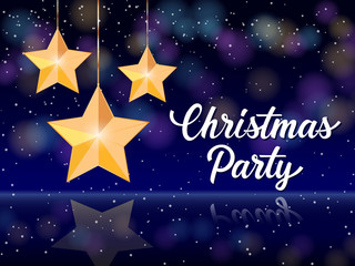 Christmas Party Lettering and Stars