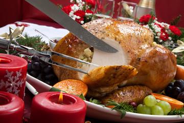 Carving Roasted Turkey for Christmas Dinner