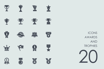 Set of awards and trophies icons